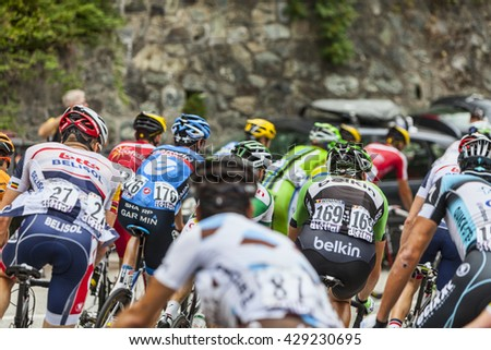 ALPE D'HUEZ, FRANCE, JUL 18:The peloton climbing the difficult road to Alpe-D'Huez, during the stage 18 of Le Tour de France on July 18 2013