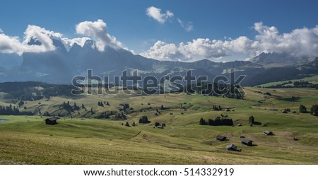 Alpe di Siusi, highest alpine pasture, as seen from trail 6A  to hotel Goldknopf from Ortisei-Mont Seuc cable railway, with Sassolungo + Sassopiatto & Sciliar in the background, Dolomites, Italy