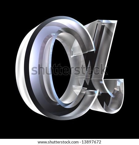 Alpha symbol in glass (3d) - stock photo