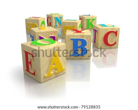 Alphabet ABC cubes isolated on white - stock photo