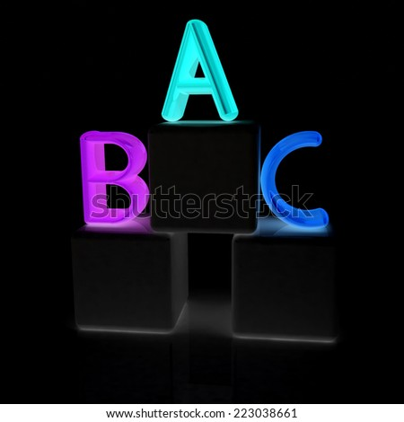 alphabet and blocks on a black background - stock photo