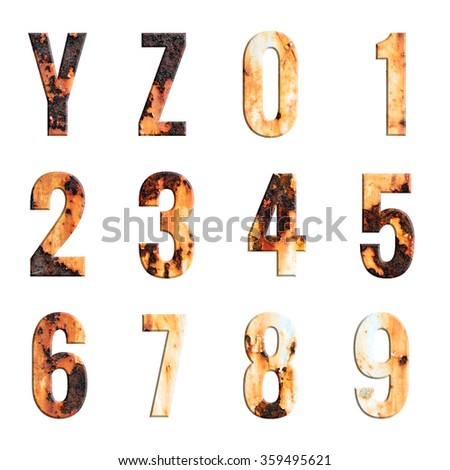 Alphabet and number on Grungy Rusted Steel texture isolate on white background - stock photo