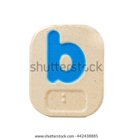alphabet b on white background  with Braille. - stock photo
