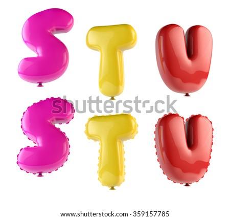 Alphabet Ballons 3d render - Font Colorful S, T, U - stock photo