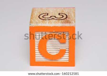 Alphabet block C isolated on a white background - stock photo