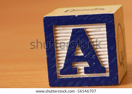 Alphabet block with the letter A - stock photo