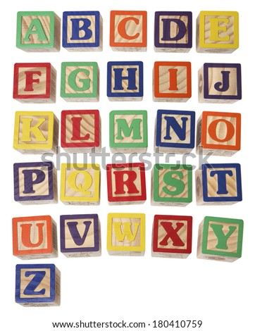 alphabet blocks on white