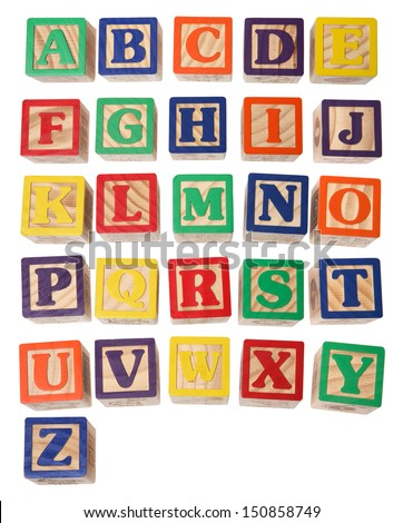 Alphabet blocks on white background