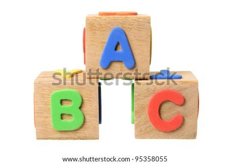 Alphabet Blocks on White Background - stock photo