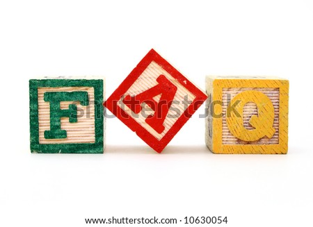 alphabet blocks over a white surface forming the word faq - stock photo