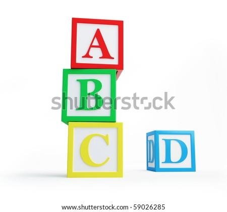 alphabet blocks solated on a white background - stock photo