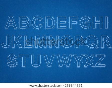 alphabet blueprint - stock photo