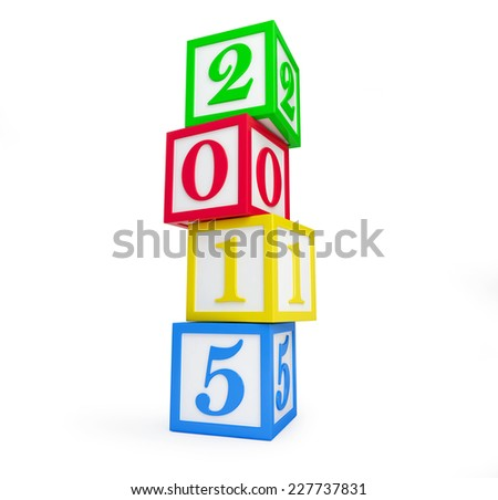 alphabet box 2015 new year's isolated on a white background - stock photo