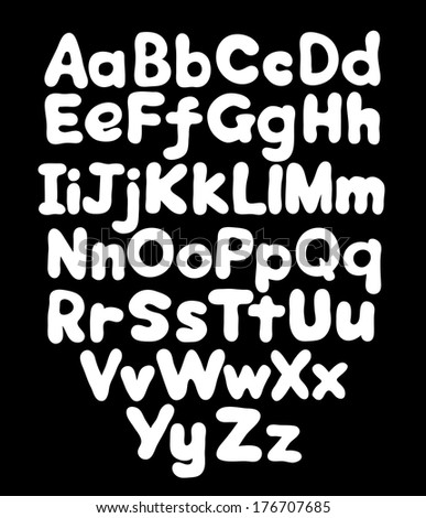 Alphabet bubble hand drawing in black background - stock photo