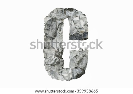 Alphabet C, created by a group of stone isolated on white background