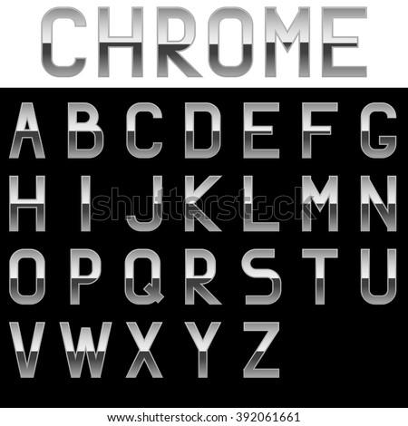 Alphabet. Chrome letters. Illustration isolated on black background. Raster version. - stock photo