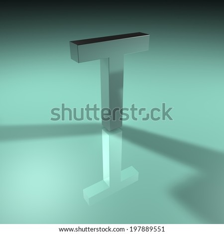 Alphabet collection, Green Turquoise. 3D - T - stock photo