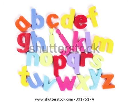 Alphabet, Colourful Fridge Magnets, Set of Letters - stock photo
