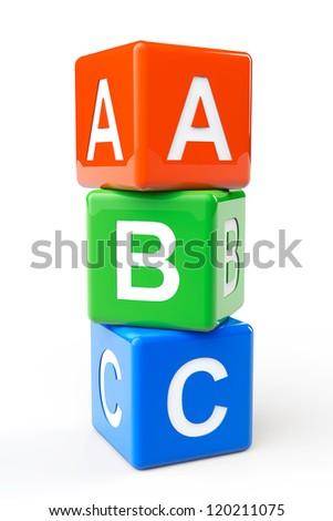 Alphabet Concept. ABC cubes on a white background - stock photo