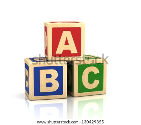 alphabet concept -  ABC cubes on a white background - stock photo