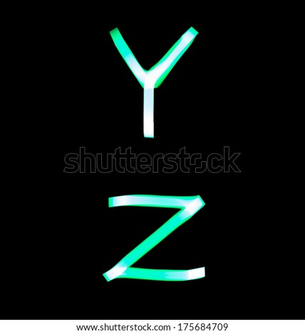 alphabet created with light (Y, Z) - stock photo