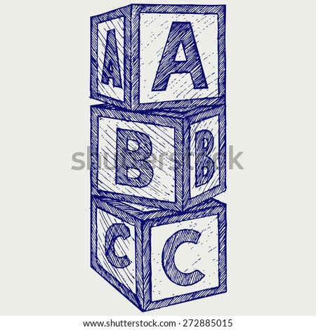 Alphabet cubes with A,B,C letters. Doodle style. Raster version - stock photo