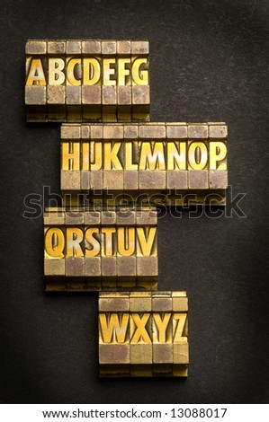 Alphabet done in letterpress type - stock photo