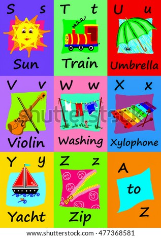 Alphabet flash cards collection, S to Z. Naive child like colorful illustrations (A-Z set 3 of 3)