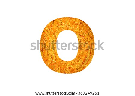 Alphabet from abstract golden texture isolated on white background, Letter O