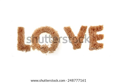 alphabet from bread isolated on the white background (love) - stock photo