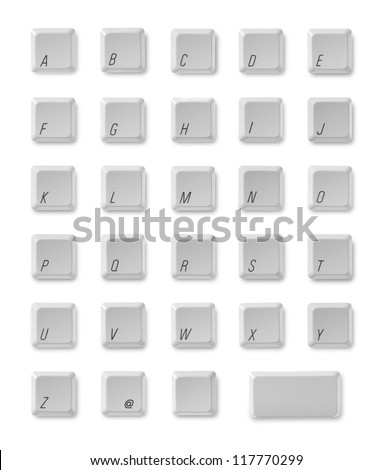 Alphabet from computer keyboard - stock photo