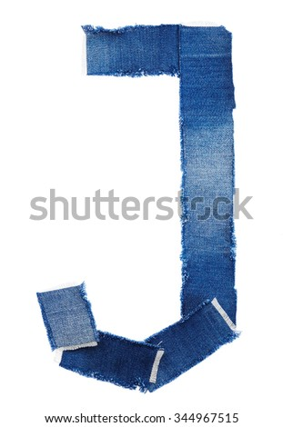 Alphabet from jeans fabric isolated on white background. Letter J - stock photo