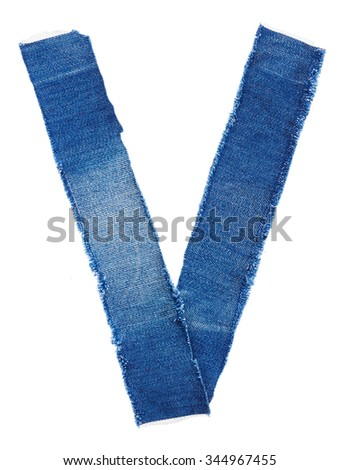 Alphabet from jeans fabric isolated on white background. Letter V - stock photo
