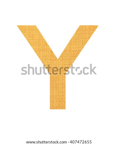 Alphabet from light yellow fabric isolated on white background. Letter Y