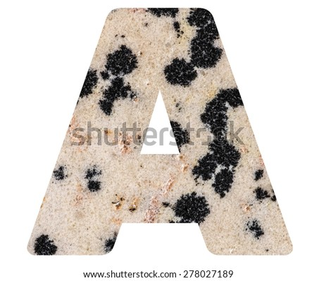 Alphabet from mineral porphyry  isolated on white background -  letter A. - stock photo