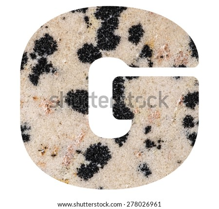 Alphabet from mineral porphyry  isolated on white background -  letter G. - stock photo