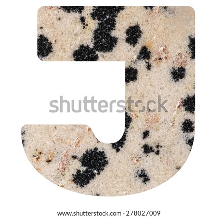 Alphabet from mineral porphyry  isolated on white background -  letter J. - stock photo