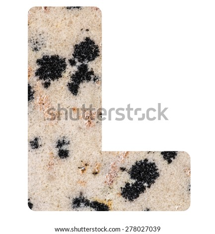Alphabet from mineral porphyry  isolated on white background -  letter L. - stock photo