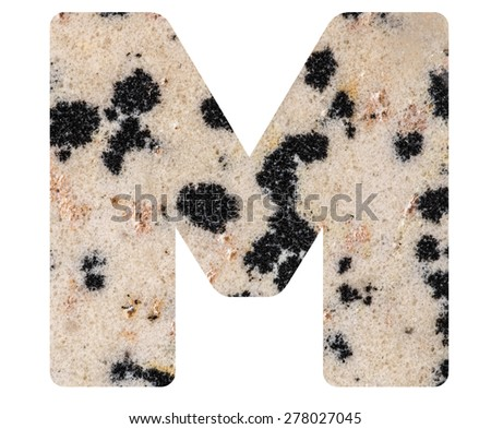 Alphabet from mineral porphyry  isolated on white background -  letter M. - stock photo