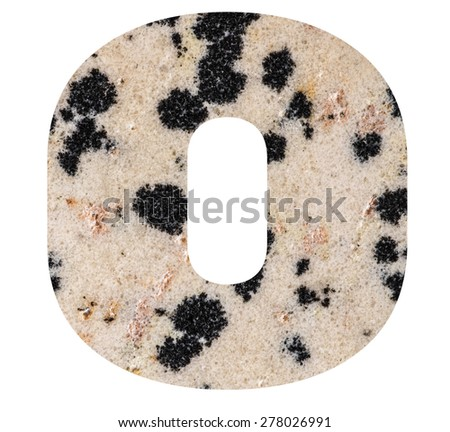Alphabet from mineral porphyry  isolated on white background -  letter O. - stock photo