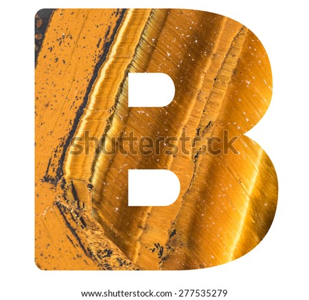 Alphabet from mineral tiger eye  isolated on white background -  letter B. - stock photo