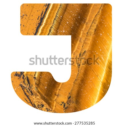 Alphabet from mineral tiger eye  isolated on white background -  letter J. - stock photo