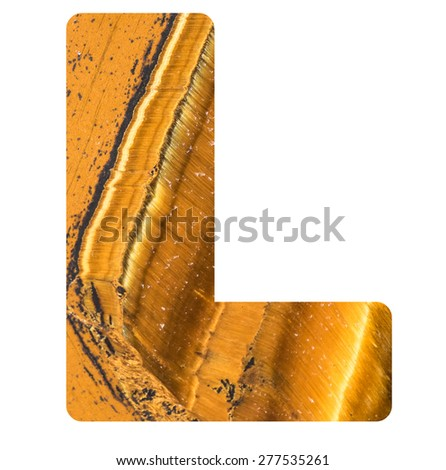 Alphabet from mineral tiger eye  isolated on white background -  letter L. - stock photo