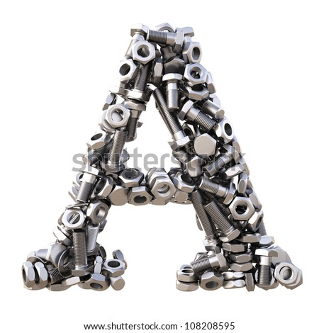 Alphabet from nuts and bolts. isolated on white. - stock photo