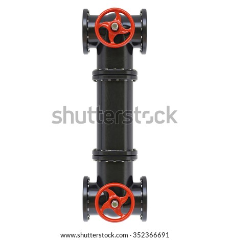 Alphabet from oil pipes. Isolated on white background.