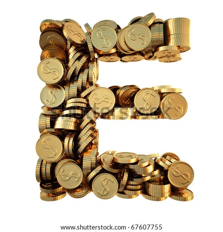 alphabet from the golden coins. isolated on white. including clipping path. - stock photo
