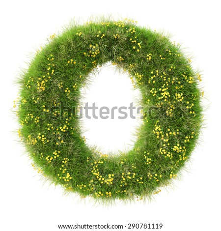 Alphabet from the green grass and flowers. isolated on white. - stock photo