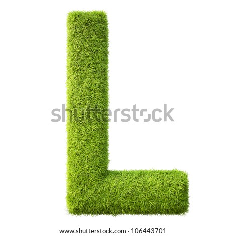 Alphabet from the green grass. isolated on white. - stock photo