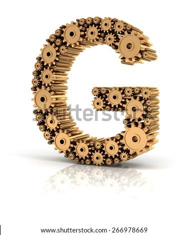 Alphabet G formed by metallic golden gears, 3d render - stock photo