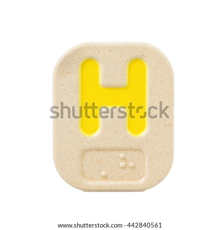 alphabet H on white background  with Braille. - stock photo